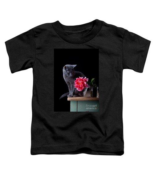 Cat And Tulip Toddler T-Shirt