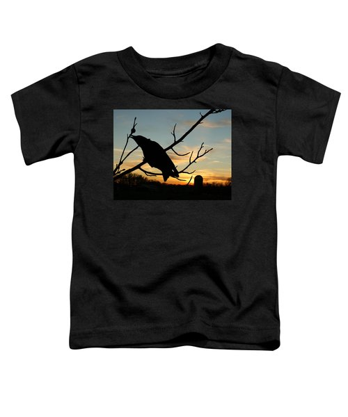 Cawcaw Over Sunset Silhouette Art Toddler T-Shirt