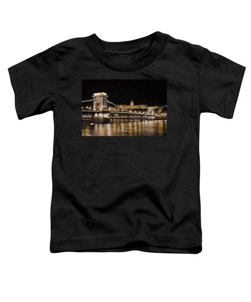 Chain Bridge And Buda Castle Winter Night Painterly Toddler T-Shirt