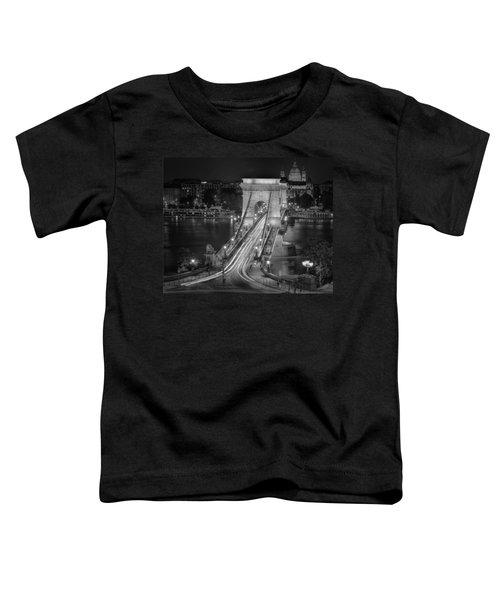 Chain Bridge Night Traffic Bw Toddler T-Shirt