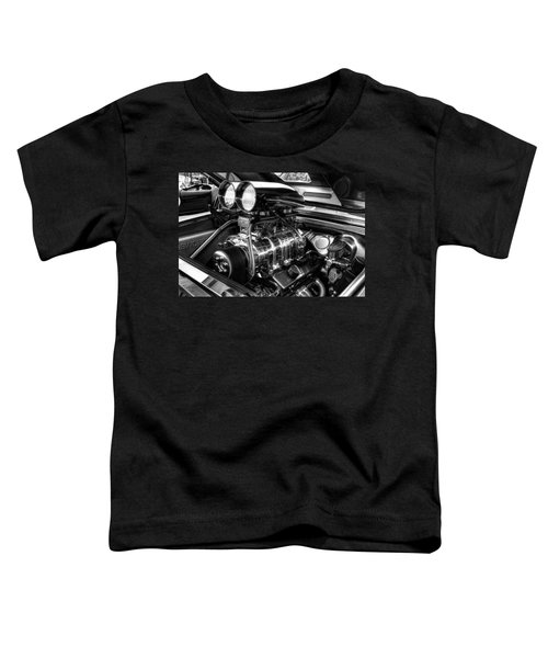 Chevy Supercharger Motor Black And White Toddler T-Shirt