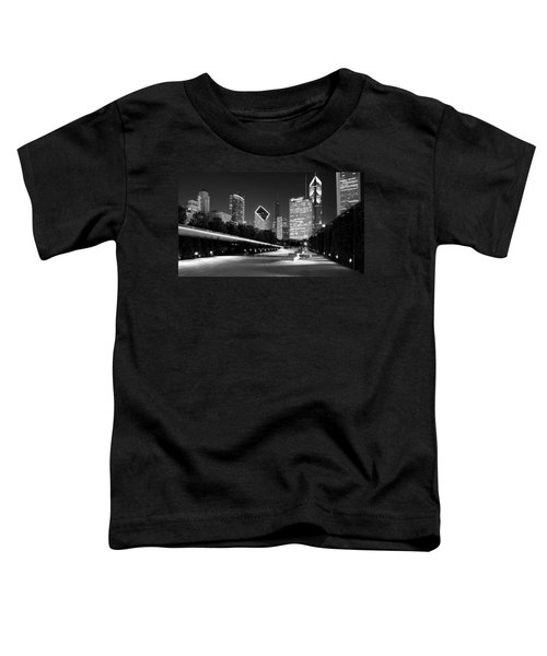 Chicago Night Skyline Black White Toddler T-Shirt