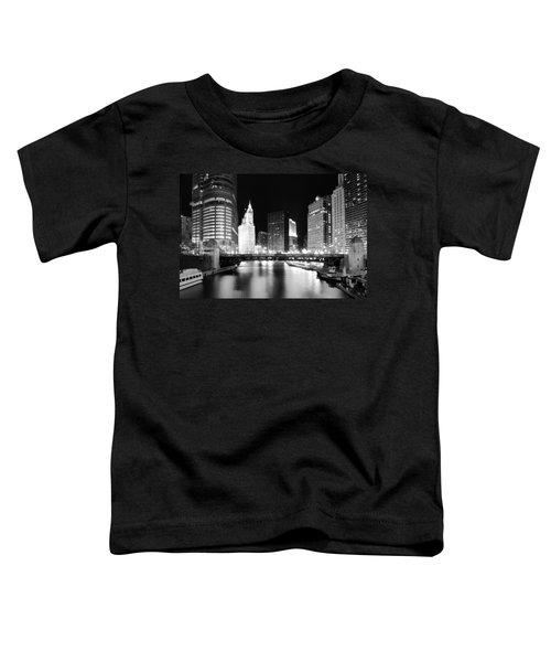 Chicago River Bridge Skyline Black White Toddler T-Shirt