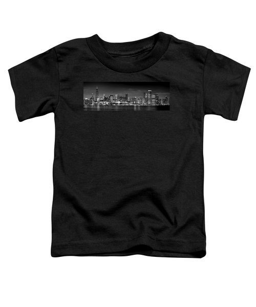 Chicago Skyline At Night Black And White Toddler T-Shirt by Jon Holiday