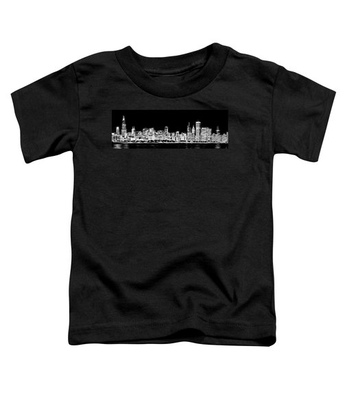Chicago Skyline Fractal Black And White Toddler T-Shirt by Adam Romanowicz