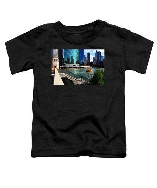 Chicago Skyline River Boat Toddler T-Shirt
