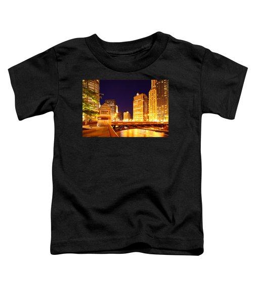 Chicago Skyline River Bridge Night Toddler T-Shirt