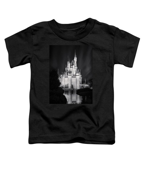 Cinderella's Castle Reflection Black And White Toddler T-Shirt