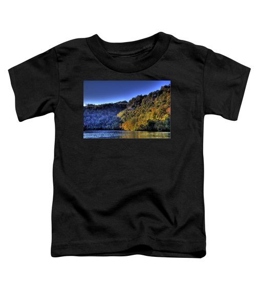 Toddler T-Shirt featuring the photograph Colorful Trees Over A Lake by Jonny D