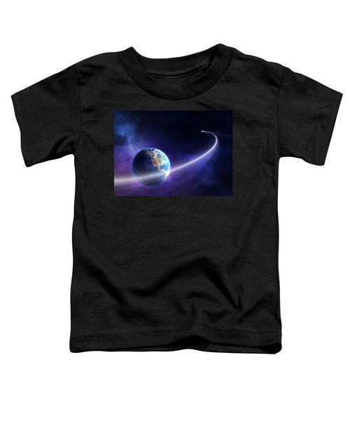 Comet Moving Past Planet Earth Toddler T-Shirt