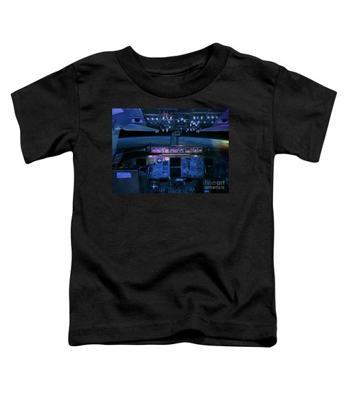 Commercial Airplane Cockpit By Night Toddler T-Shirt