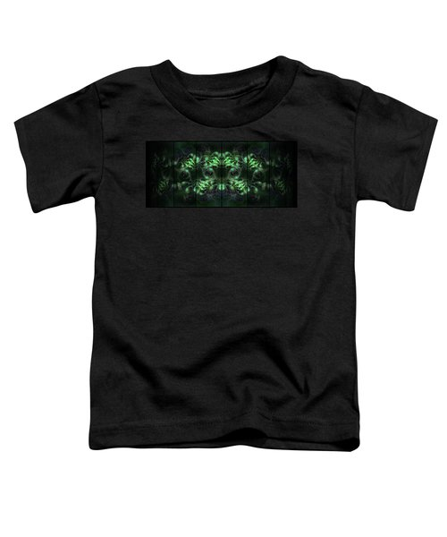 Toddler T-Shirt featuring the digital art Cosmic Alien Eyes Green by Shawn Dall
