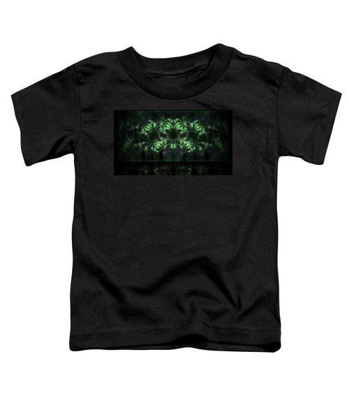 Toddler T-Shirt featuring the digital art Cosmic Alien Vixens Green by Shawn Dall