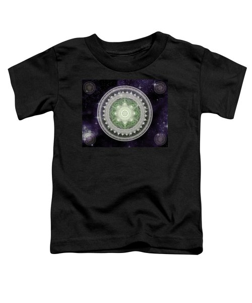 Toddler T-Shirt featuring the digital art Cosmic Medallions Earth by Shawn Dall