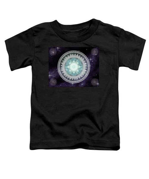 Toddler T-Shirt featuring the digital art Cosmic Medallions Water by Shawn Dall