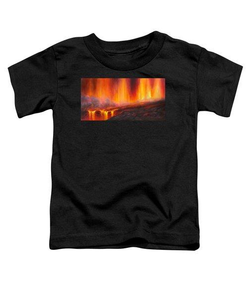 Erupting Kilauea Volcano On The Big Island Of Hawaii - Lava Curtain Toddler T-Shirt