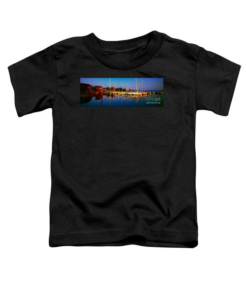 Daytona Beach Florida Inland Waterway Private Boat Yard With Bird   Toddler T-Shirt