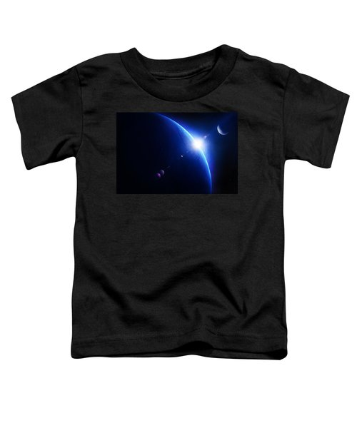 Earth Sunrise With Moon In Space Toddler T-Shirt