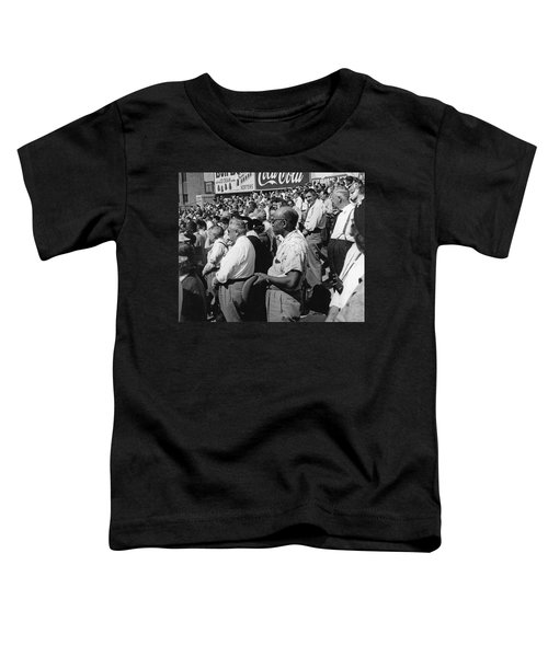 Fans At Yankee Stadium Stand For The National Anthem At The Star Toddler T-Shirt by Underwood Archives
