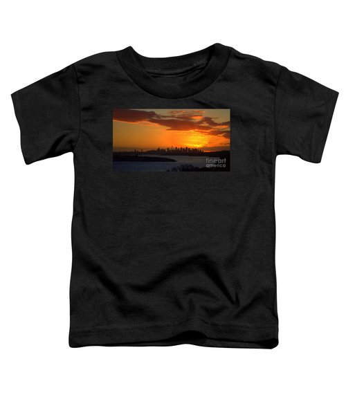 Toddler T-Shirt featuring the photograph Fire In The Sky by Miroslava Jurcik
