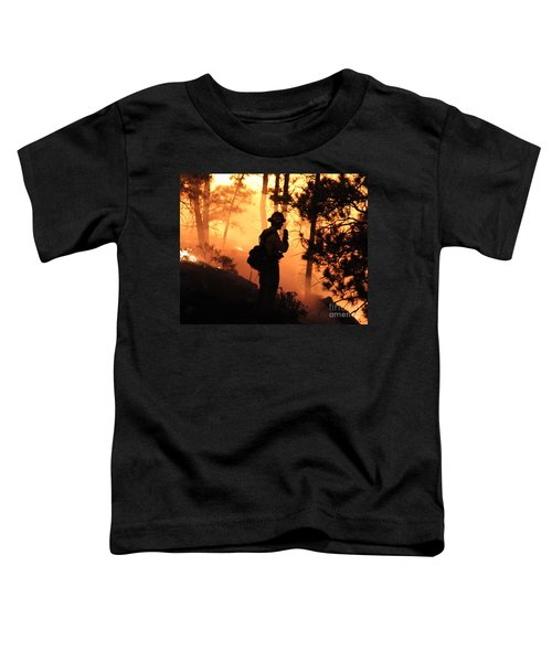 Firefighter At Night On The White Draw Fire Toddler T-Shirt