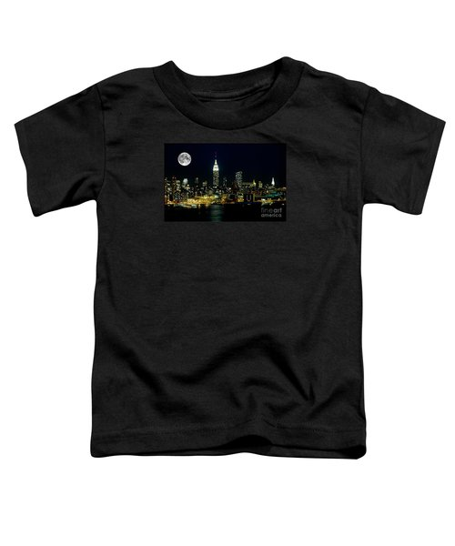 Full Moon Rising - New York City Toddler T-Shirt by Anthony Sacco