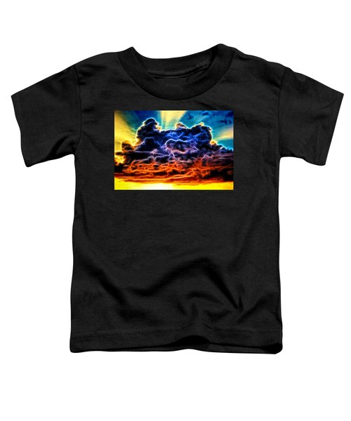 Funky Glowing Electrified Rainbow Clouds Abstract Toddler T-Shirt