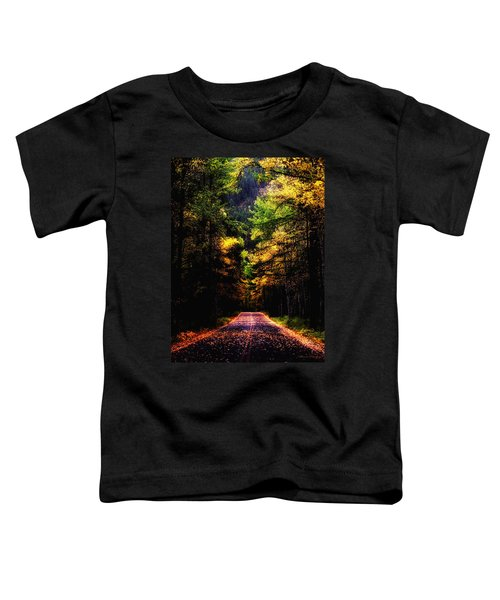Toddler T-Shirt featuring the photograph Glacier Fall Road by Susan Kinney