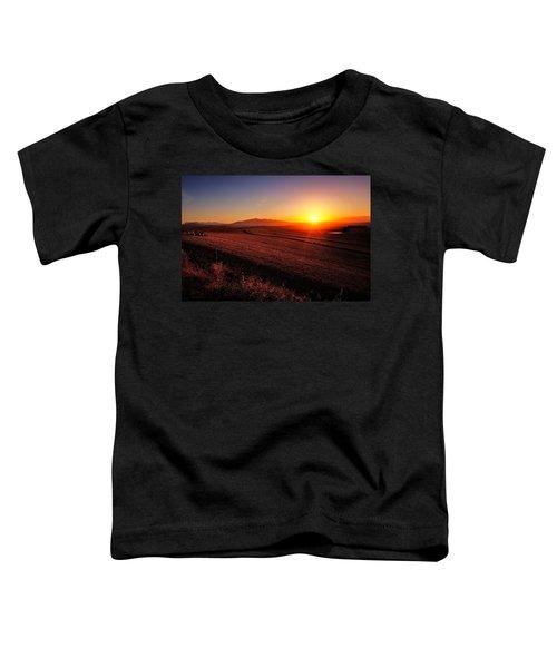 Golden Sunrise Over Farmland Toddler T-Shirt