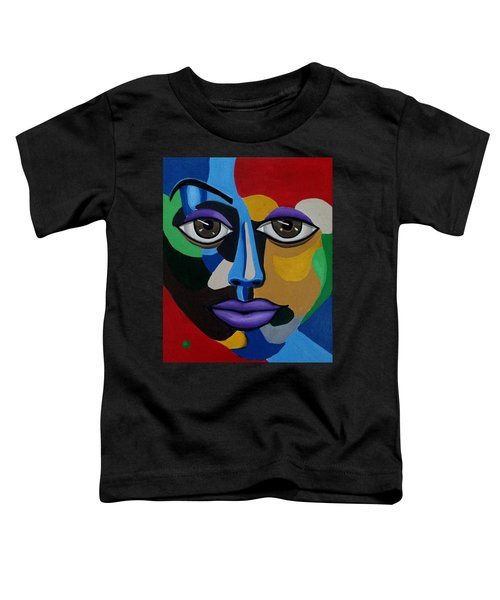 Colorful Abstract Face Art Painting, 3d Illusion, Big Brown Eyes, Purple Lips Toddler T-Shirt