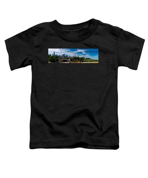 Grant Park Chicago Skyline Panoramic Toddler T-Shirt by Adam Romanowicz