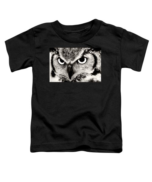Great Horned Owl In Black And White Toddler T-Shirt