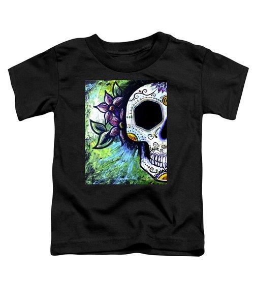 Green Flower Skull Toddler T-Shirt