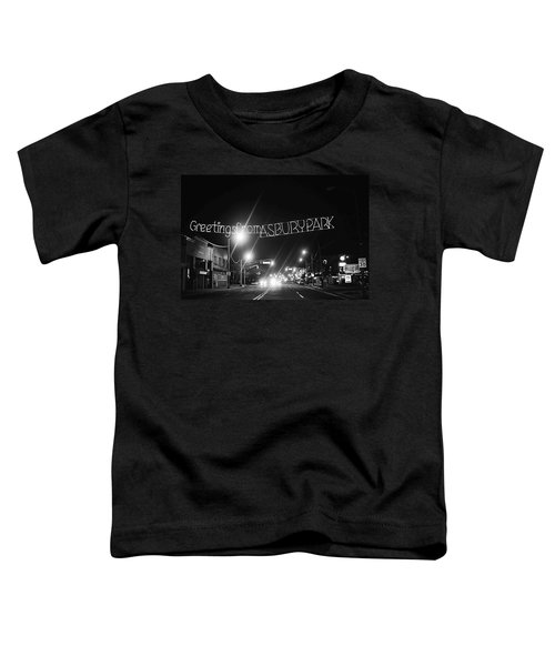 Greetings From Asbury Park New Jersey Black And White Toddler T-Shirt