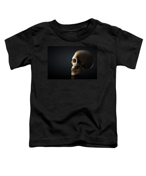 Human Skull Profile On Dark Background Toddler T-Shirt