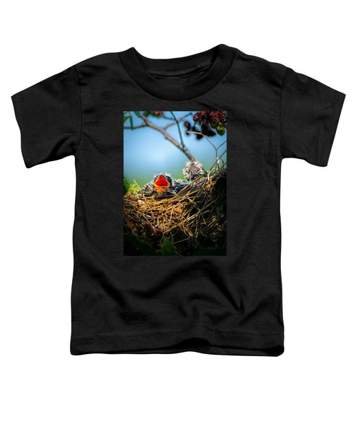 Hungry Tree Swallow Fledgling In Nest Toddler T-Shirt