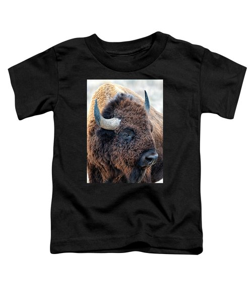 Bison The Mighty Beast Bison Das Machtige Tier North American Wildlife By Olena Art Toddler T-Shirt