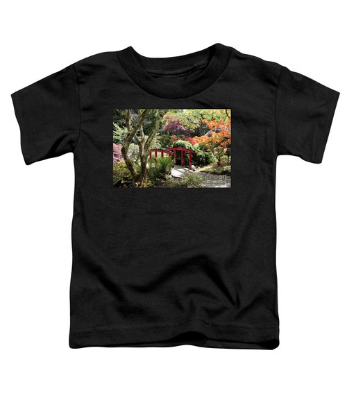 Japanese Garden Bridge With Rhododendrons Toddler T-Shirt