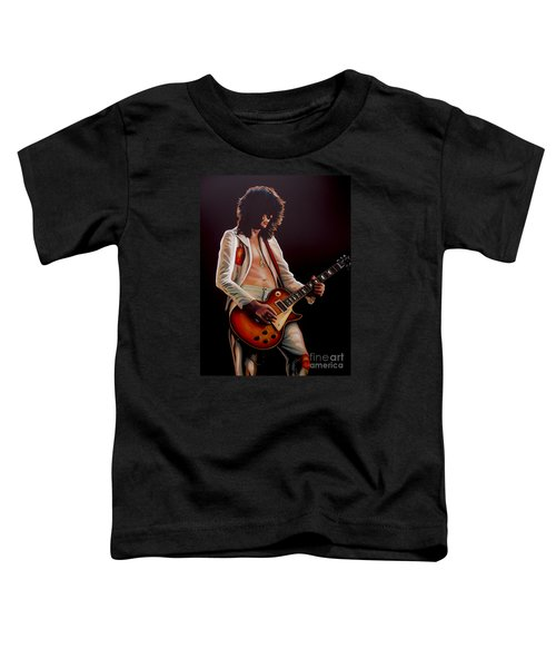 Jimmy Page In Led Zeppelin Painting Toddler T-Shirt by Paul Meijering