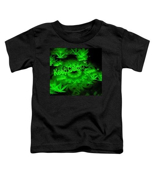 Keep Calm - Green Fractal Weed Art Toddler T-Shirt