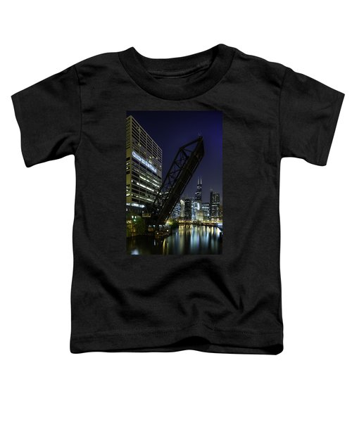 Kinzie Street Railroad Bridge At Night Toddler T-Shirt