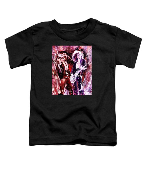 Led Zeppelin - Jimmy Page And Robert Plant Toddler T-Shirt by Ryan Rock Artist