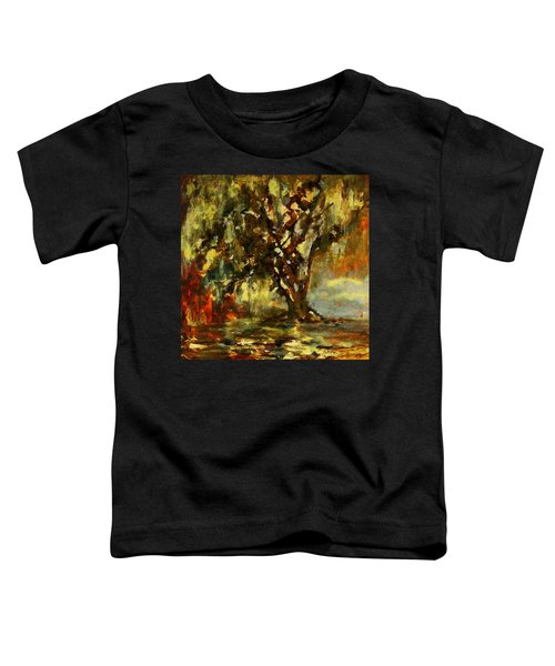 Light Through The Moss Tree Landscape Painting Toddler T-Shirt