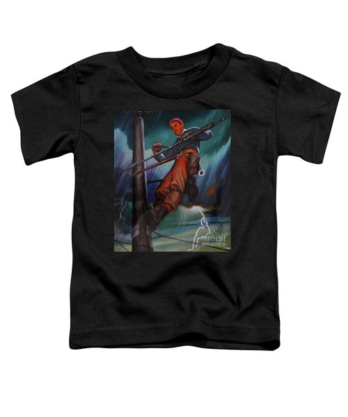 Lineman In Storm Toddler T-Shirt