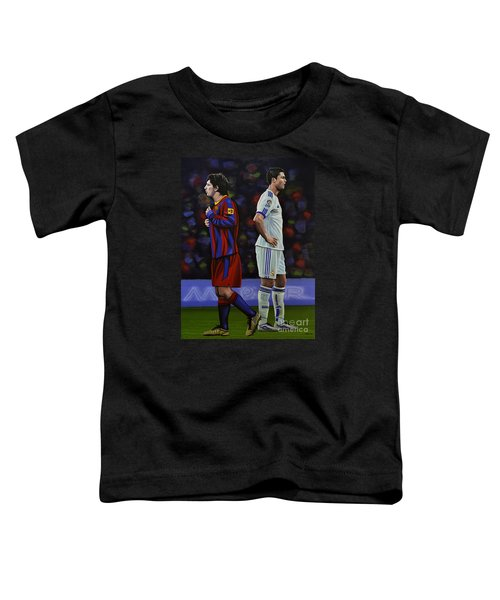Lionel Messi And Cristiano Ronaldo Toddler T-Shirt by Paul Meijering