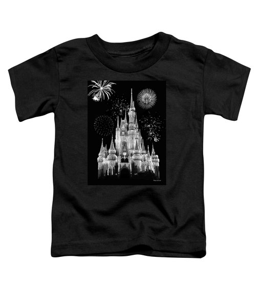 Magic Kingdom Castle In Black And White With Fireworks Walt Disney World Toddler T-Shirt