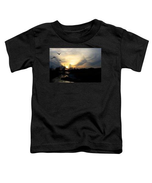 Mallards Silhouette At Sunset Toddler T-Shirt