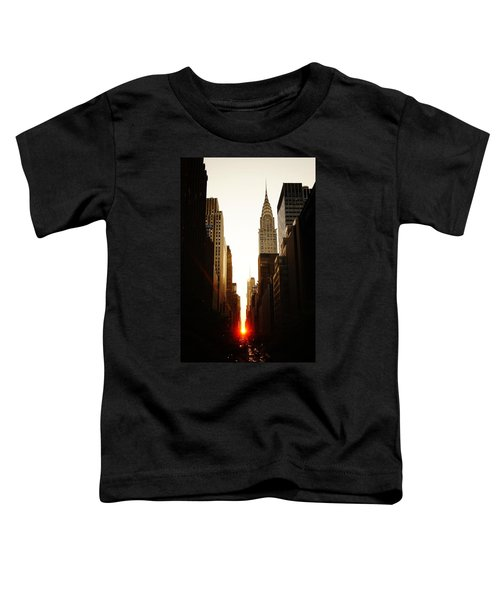 Manhattanhenge Sunset And The Chrysler Building  Toddler T-Shirt by Vivienne Gucwa