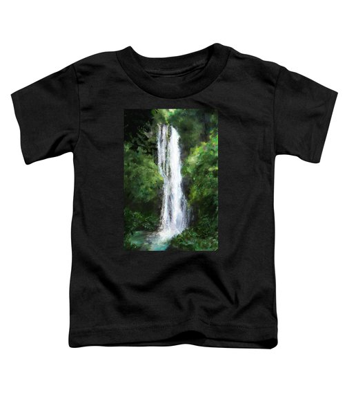 Toddler T-Shirt featuring the painting Maui Waterfall by Susan Kinney