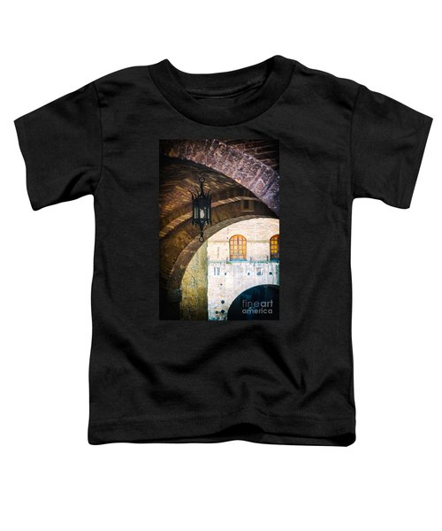 Toddler T-Shirt featuring the photograph Medieval Arches With Lamp by Silvia Ganora